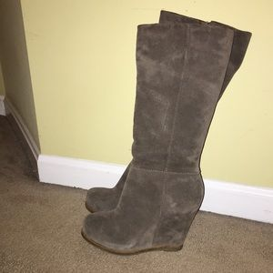 LUCKY BRAND real suede wedge calf high boots